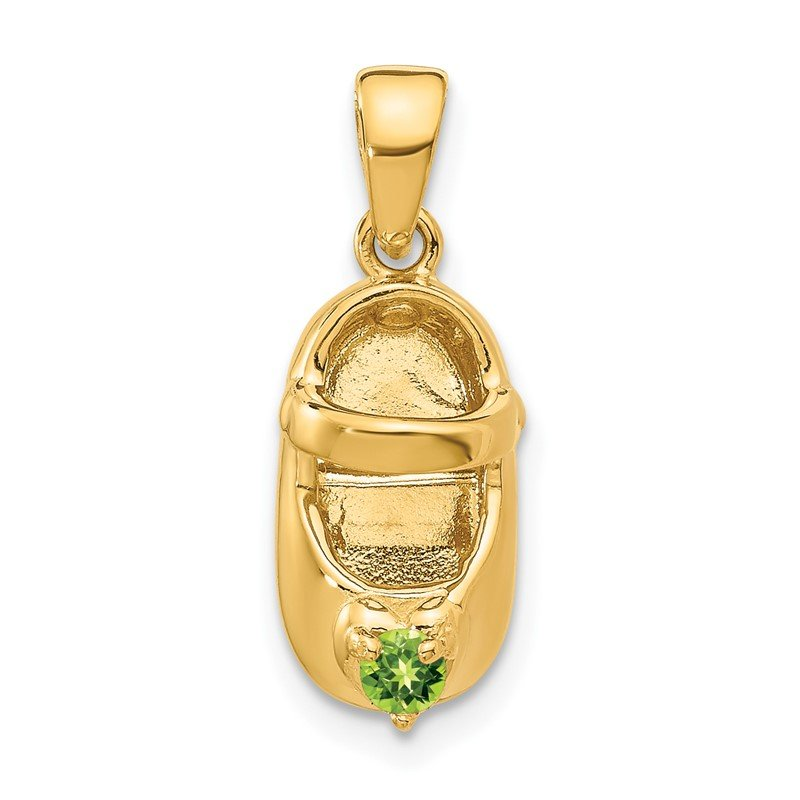 Quality Gold 14k 3-D August/Synthetic Stone Engraveable Baby Shoe Charm