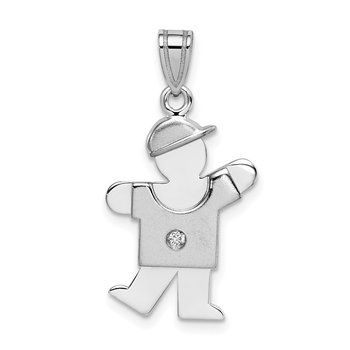 14k White Gold AA Diamond Kid Pendant