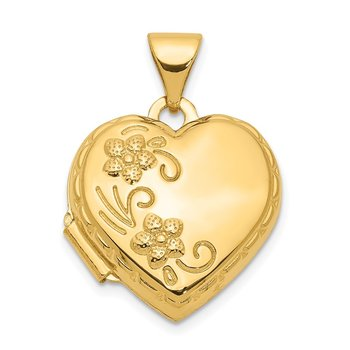 14k Reversible Floral Love You Always Heart Locket