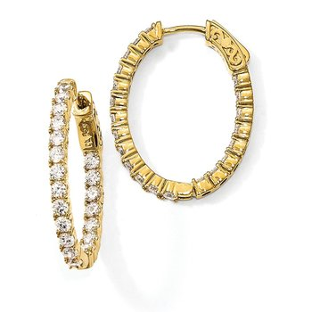 Sterling Silver Gold-tone CZ In & Out Oval Hoop Earrings