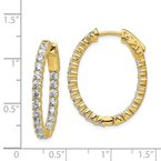 Quality Gold Sterling Silver Gold-tone CZ In & Out Oval Hoop Earrings