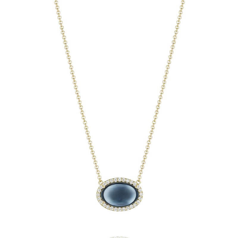 Tacori Fashion Oval Cabochon Necklace featuring Sky Blue Topaz over Hematite