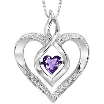 Diamond & Synthetic Amethyst Heart Infinity Symbol ROL Rhythm of Love Pendant in Sterling Silver