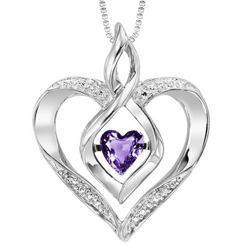 Gems One Diamond & Synthetic Amethyst Heart Infinity Symbol ROL Rhythm of Love Pendant in Sterling Silver