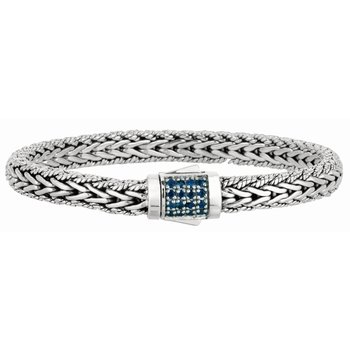 Sterling Silver Signature Woven Sapphire Lock Bracelet