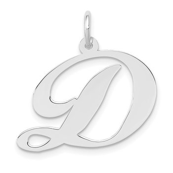 14k White Gold Large Fancy Script Letter D Initial Charm