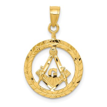 14k Masonic Symbol in Wreath Pendant