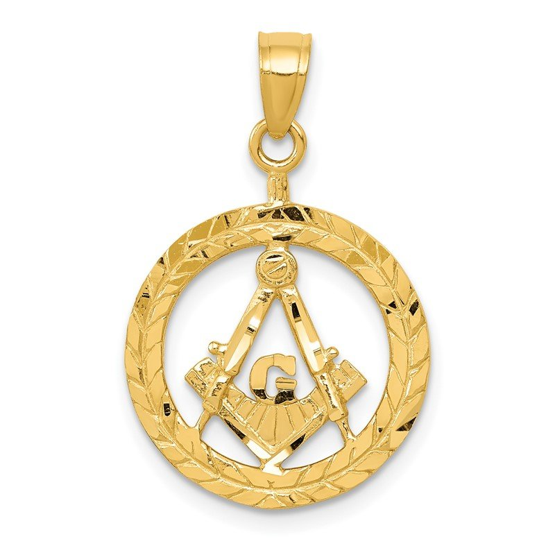 Quality Gold 14k Masonic Symbol in Wreath Pendant