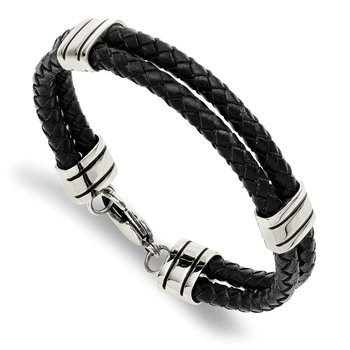 Stainless Steel Polished Braided Black Leather 9in Bracelet