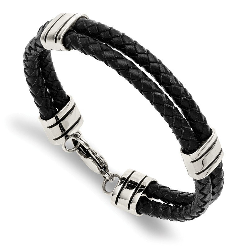 Chisel Stainless Steel Polished Braided Black Leather 9in Bracelet