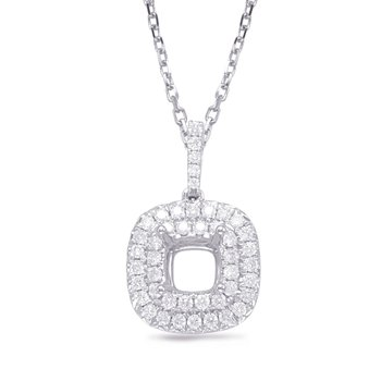 Diamond Pendant For 0.75ct Cushion Cent