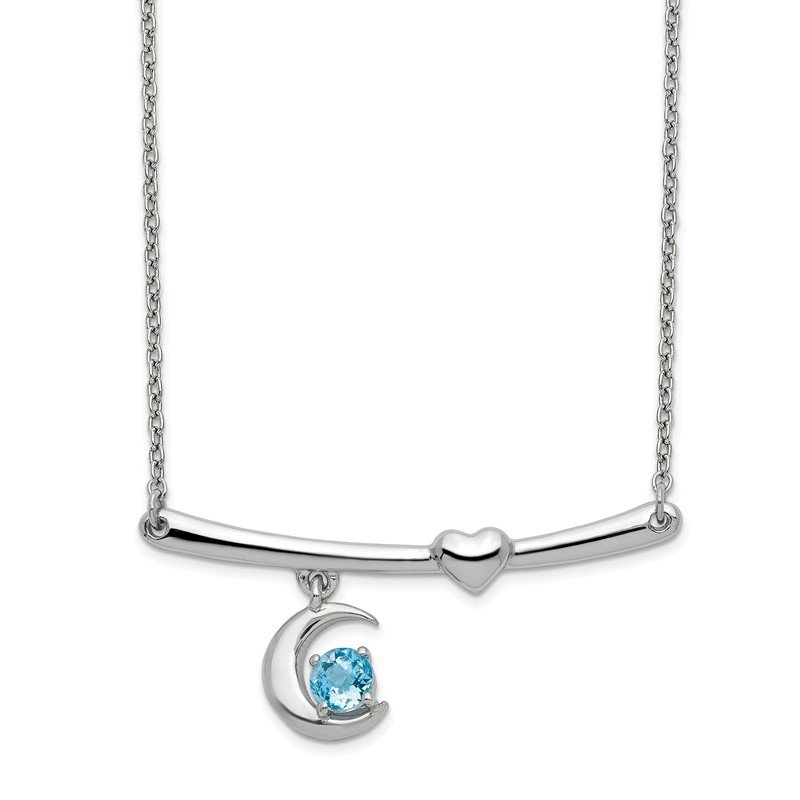 Quality Gold Sterling Silver Rhod-plat Swiss Blue Topaz Moon w/2.25in ext Necklace