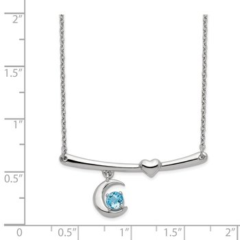 Sterling Silver Rhod-plat Swiss Blue Topaz Moon w/2.25in ext Necklace