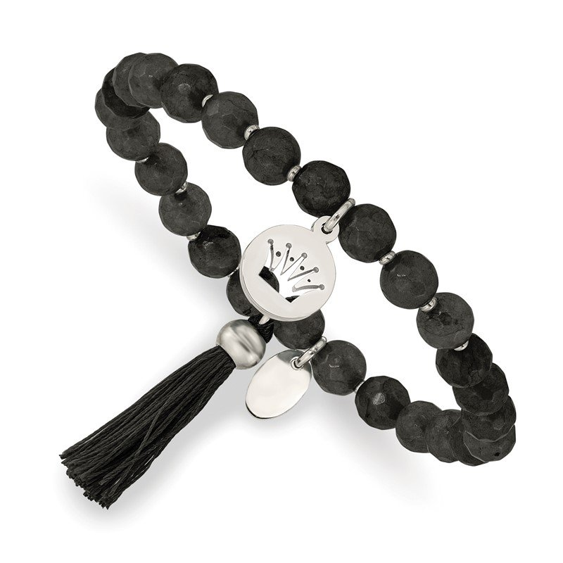 Chisel Stainless Steel Polished Crown w/Tassel Black Jade Stretch Bracelet