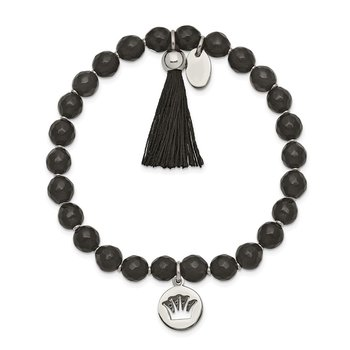 Stainless Steel Polished Crown w/Tassel Black Jade Stretch Bracelet