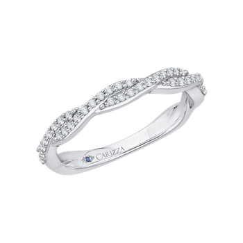 18K White Gold Round Diamond Criss-Cross Half-Eternity Wedding Band