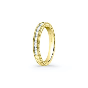 Milgrain Baguette Diamond Wedding Band