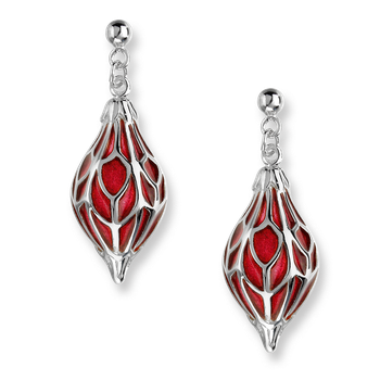 Sterling Silver Ornament Drop Earrings-Red