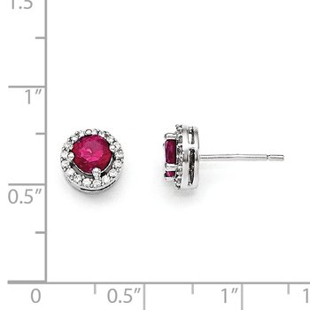 SS Rhodium Plated CZ Brilliant Embers Red Corundum Earrings