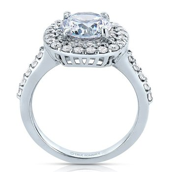 Round Cut Double Halo Diamond Engagement Ring