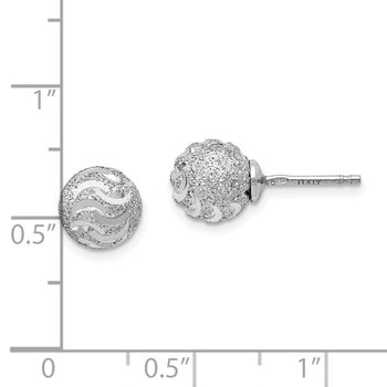 Leslie's Sterling Silver Laser-cut Ball Post Earrings