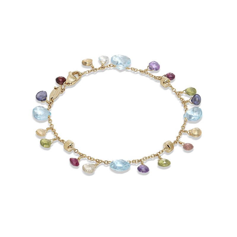 Marco Bicego Paradise Collection 18K Yellow Gold Blue Topaz and Mixed Gemstone Single Strand Bracelet