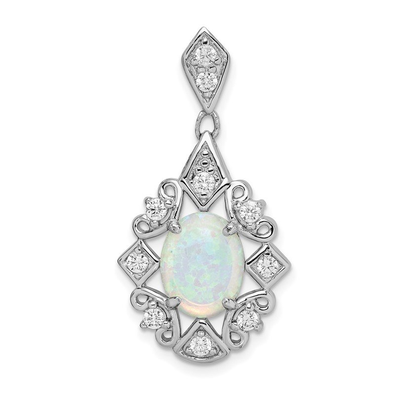 Quality Gold Sterling Silver Created Opal and CZ Pendant