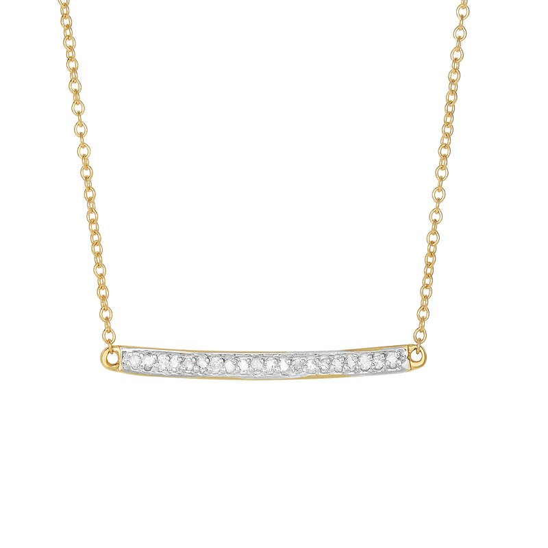 Royal Chain 14K Gold .12ct Diamond Bar Necklace
