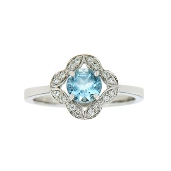 14k White Gold Ring with Aqua & Diamond