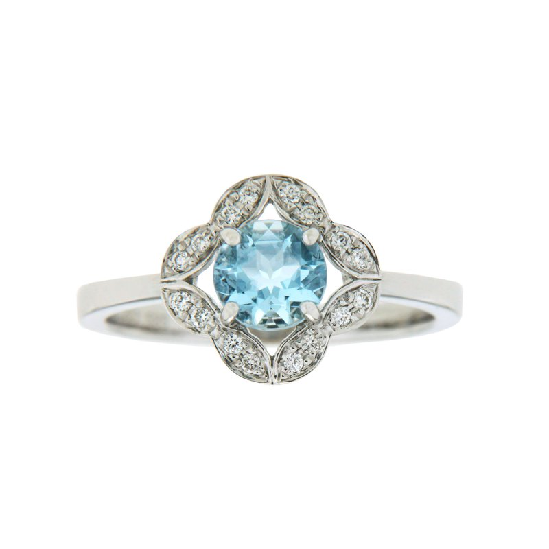 Paragon Fine Jewellery 14k White Gold Ring with Aqua & Diamond