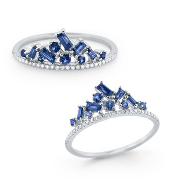 Blue Sapphire & Diamond Crown Ring Set in 14 Kt. Gold