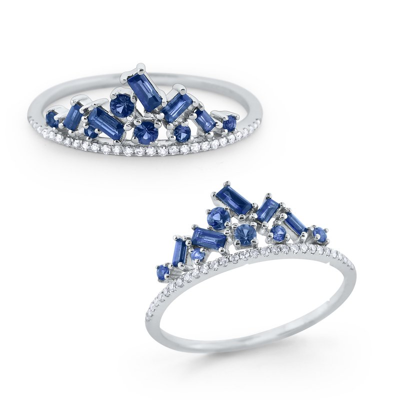 KC Designs Blue Sapphire & Diamond Crown Ring Set in 14 Kt. Gold