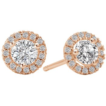 Ladies Diamond Halo Earrings