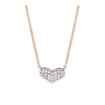 14K Diamond Puffed Heart Necklace