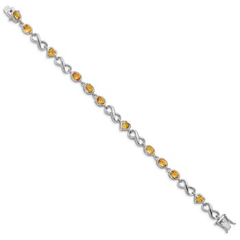 Sterling Silver Rhodium-plated Oval Heart Citrine Bracelet