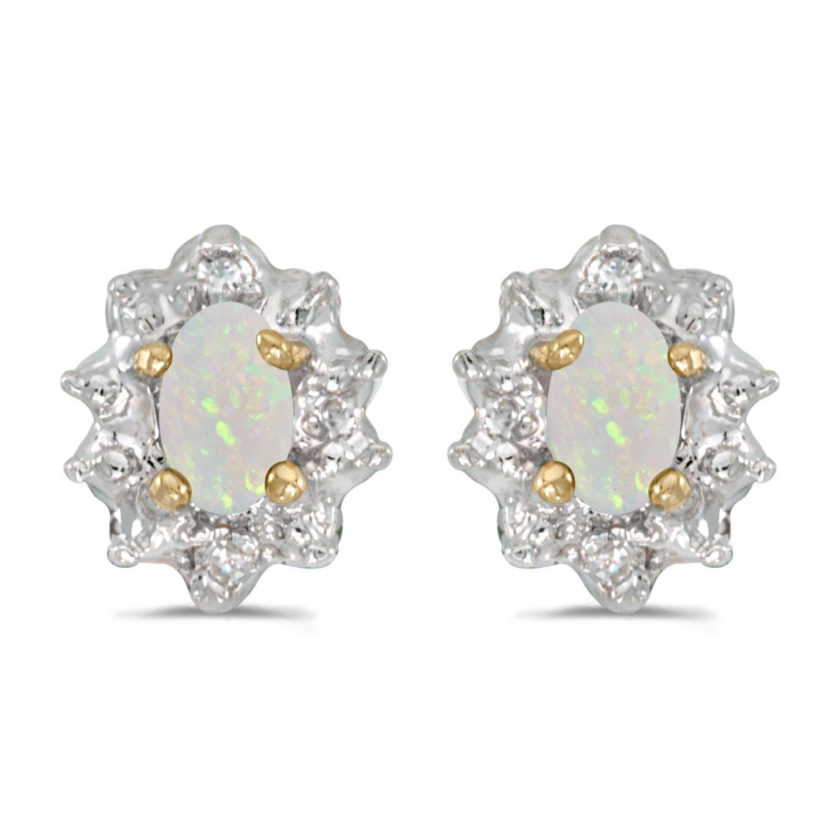 14k White Gold Oval Opal And Diamond Earrings