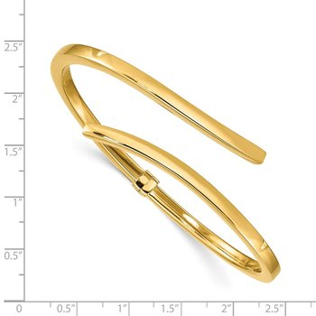 Sterling Silver Gold-tone Polished Bypass Hinged Bangle