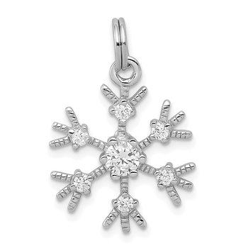 Sterling Silver Rhodium-plated CZ Snowflake Charm