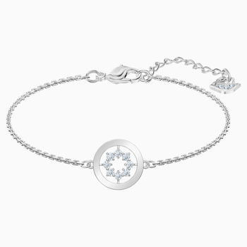 Further Circle Bracelet, White, Rhodium plated