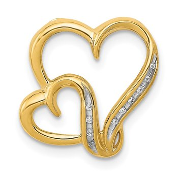 14k .03ct. Diamond Double Heart Chain Slide