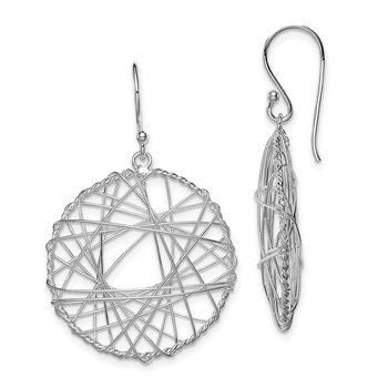Sterling Silver Rhodium Plated Open Circle Wrapped Wire Earrings