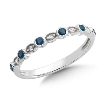 Pave and Bezel set Sapphire and Diamond Stackable Ring in 10k White Gold