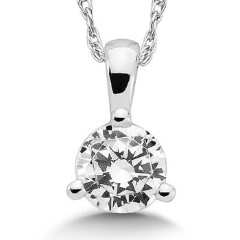 Three Prong Diamond Pendant in 14k White Gold (3/8ct. tw.)