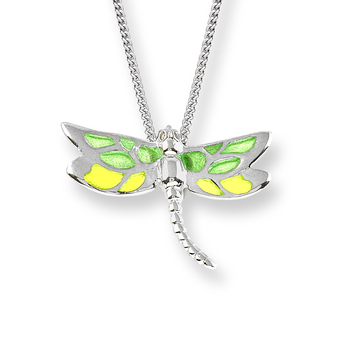 Fine Enamels Sterling Silver Dragonfly Necklace-Green