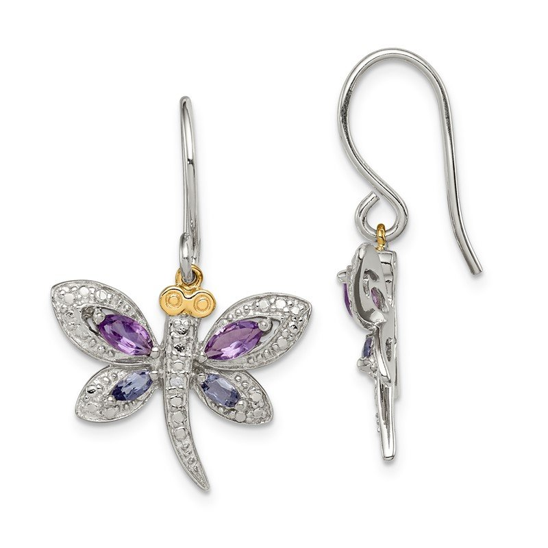Quality Gold SS & 14k True Two-tone Amethyst and Iolite and Diamond Dragonfly Earrings
