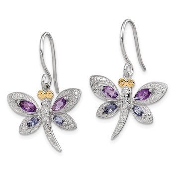 SS & 14k True Two-tone Amethyst and Iolite and Diamond Dragonfly Earrings