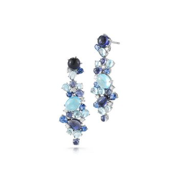 Drop Earrrings with Topaz, Iolite, Sapphires and Diamonds
