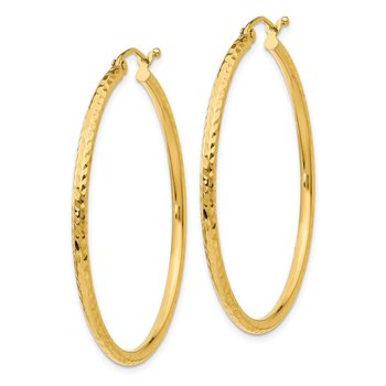 14k Diamond-cut 2mm Round Tube Hoop Earrings