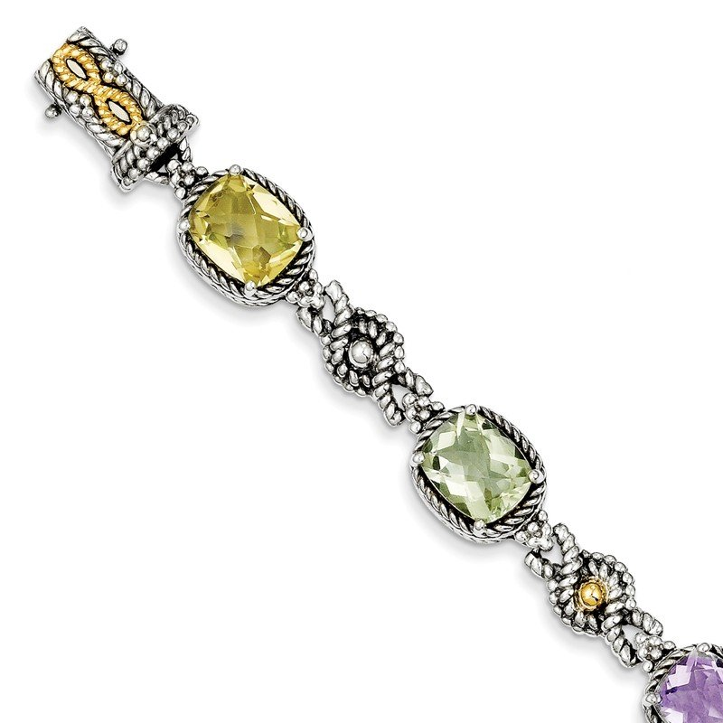 Shey Couture Sterling Silver w/14k Pink/Green/Lemon Quartz Bracelet