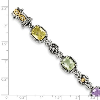 Sterling Silver w/14k Pink/Green/Lemon Quartz Bracelet